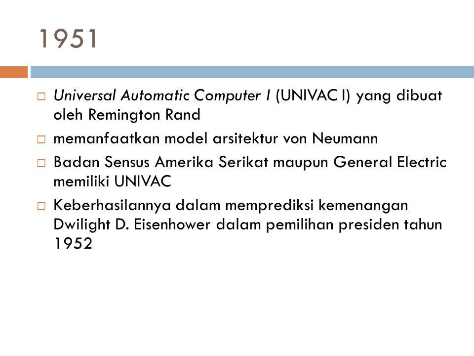 1951  Universal Automatic Computer I (UNIVAC I) yang dibuat oleh Remington Rand  memanfaatkan model arsitektur von Neumann  Badan Sensus Amerika Se