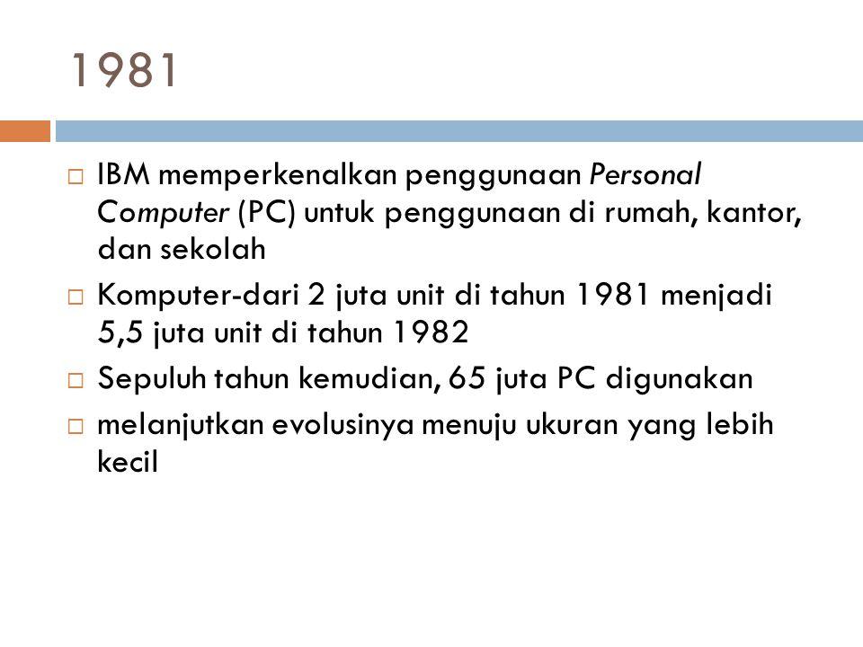1981  IBM memperkenalkan penggunaan Personal Computer (PC) untuk penggunaan di rumah, kantor, dan sekolah  Komputer-dari 2 juta unit di tahun 1981 m