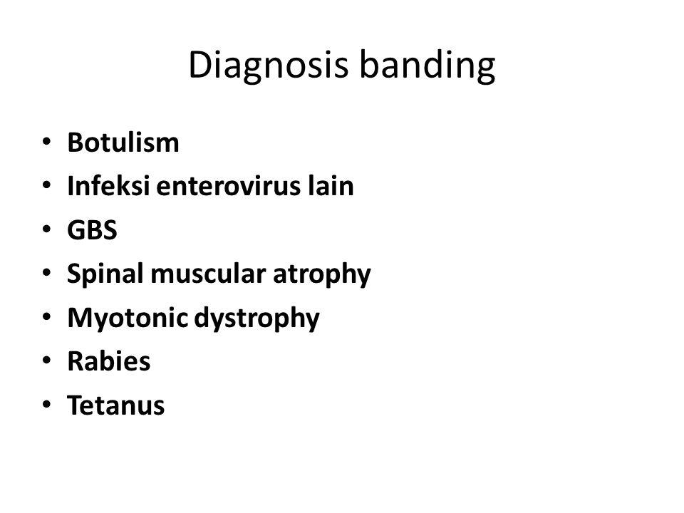 Diagnosis banding Botulism Infeksi enterovirus lain GBS Spinal muscular atrophy Myotonic dystrophy Rabies Tetanus