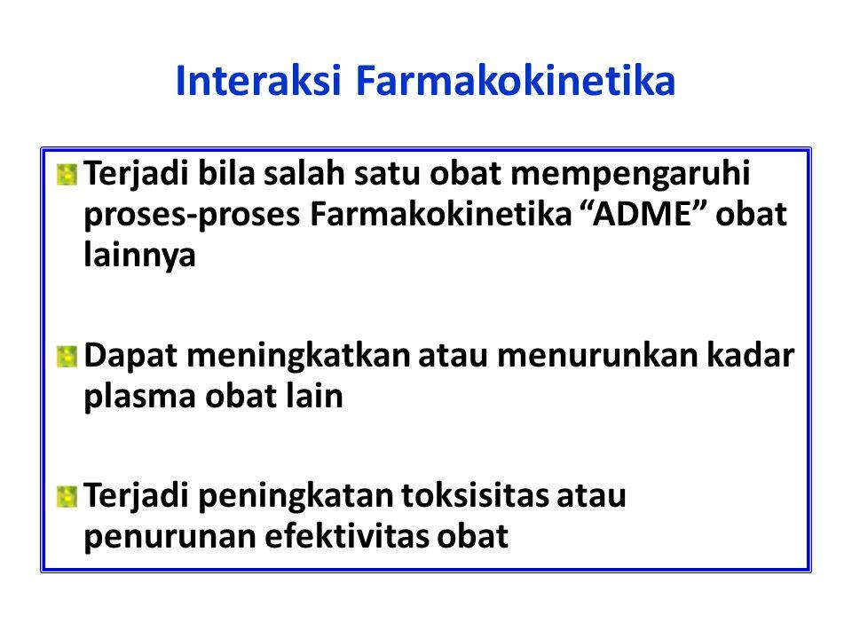"Interaksi Farmakokinetika Terjadi bila salah satu obat mempengaruhi proses-proses Farmakokinetika ""ADME"" obat lainnya Dapat meningkatkan atau menurunk"