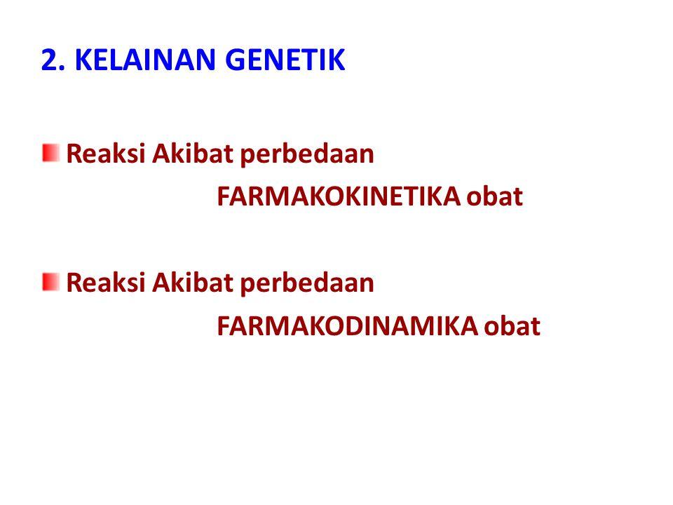 2. KELAINAN GENETIK Reaksi Akibat perbedaan FARMAKOKINETIKA obat Reaksi Akibat perbedaan FARMAKODINAMIKA obat