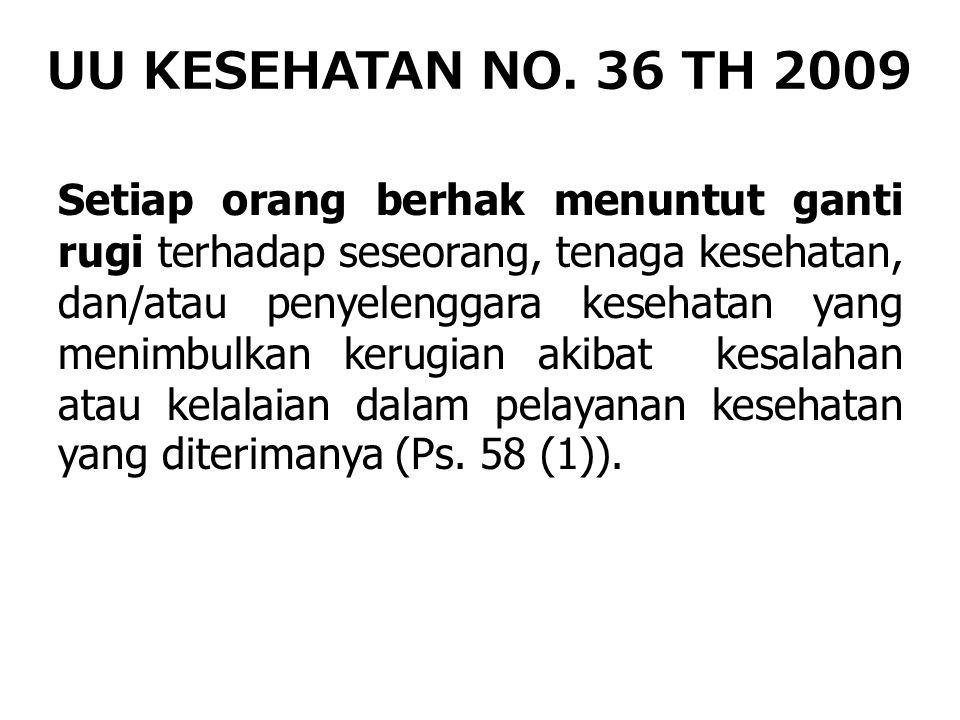 UU KESEHATAN NO. 36 TH 2009 Setiap orang berhak menuntut ganti rugi terhadap seseorang, tenaga kesehatan, dan/atau penyelenggara kesehatan yang menimb