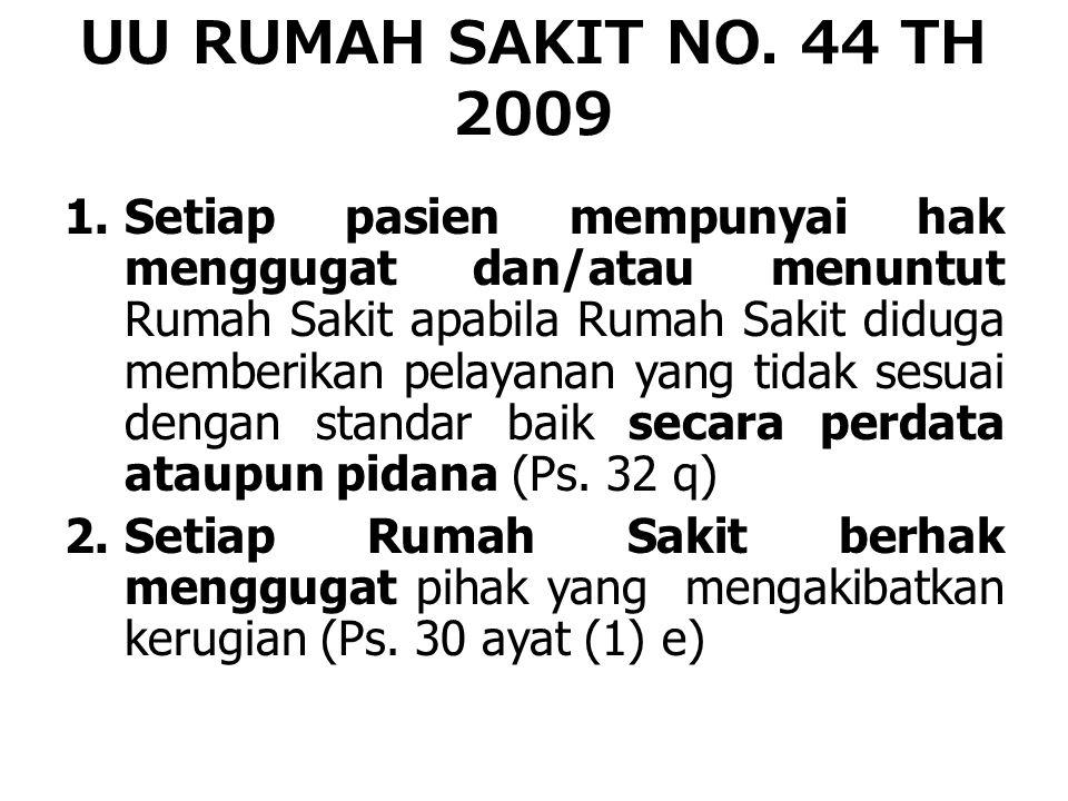 UU RUMAH SAKIT NO. 44 TH 2009 1.Setiap pasien mempunyai hak menggugat dan/atau menuntut Rumah Sakit apabila Rumah Sakit diduga memberikan pelayanan ya
