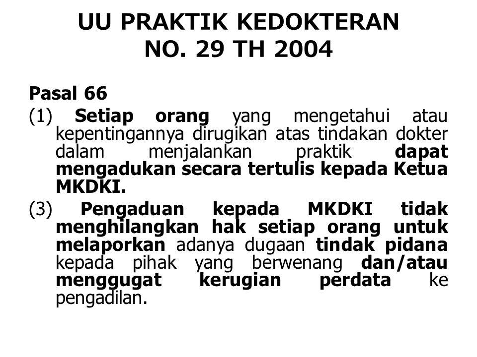 UU PRAKTIK KEDOKTERAN NO. 29 TH 2004 Pasal 66 (1) Setiap orang yang mengetahui atau kepentingannya dirugikan atas tindakan dokter dalam menjalankan pr