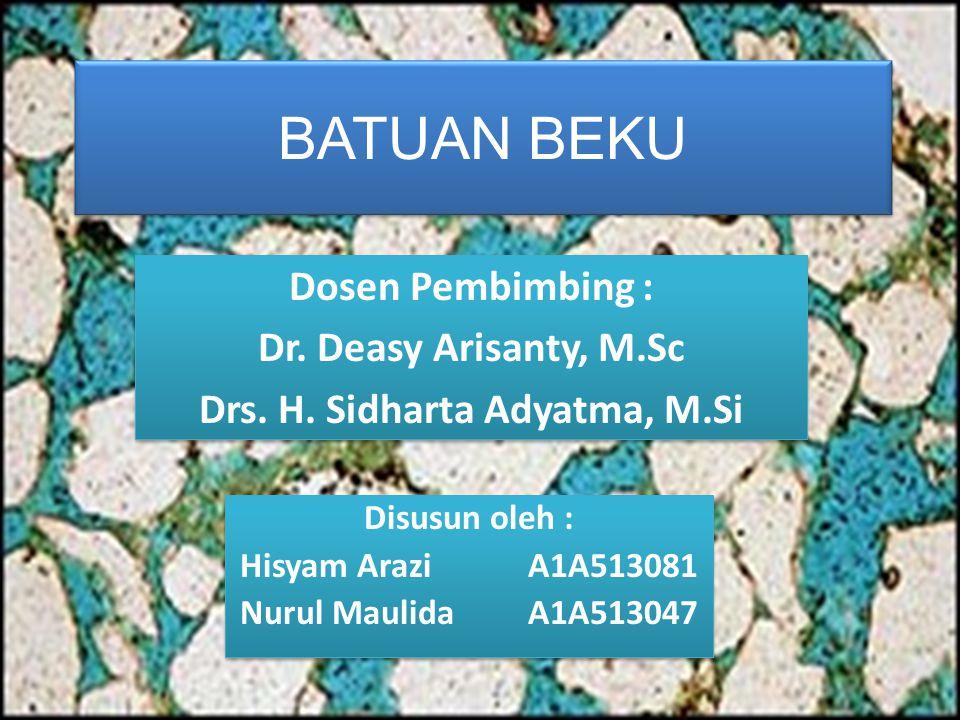 BATUAN BEKU Dosen Pembimbing : Dr. Deasy Arisanty, M.Sc Drs. H. Sidharta Adyatma, M.Si Dosen Pembimbing : Dr. Deasy Arisanty, M.Sc Drs. H. Sidharta Ad