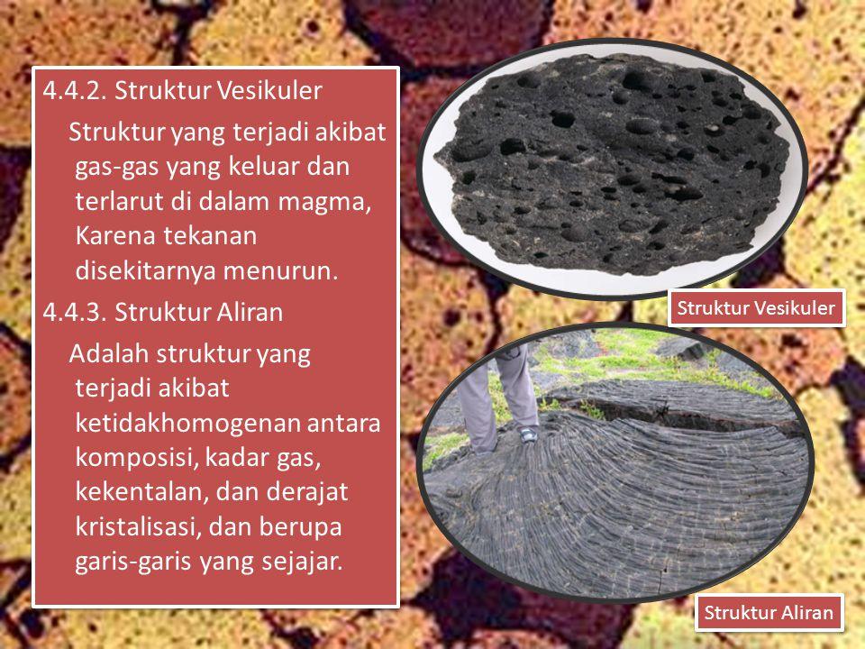 4.4.2. Struktur Vesikuler Struktur yang terjadi akibat gas-gas yang keluar dan terlarut di dalam magma, Karena tekanan disekitarnya menurun. 4.4.3. St