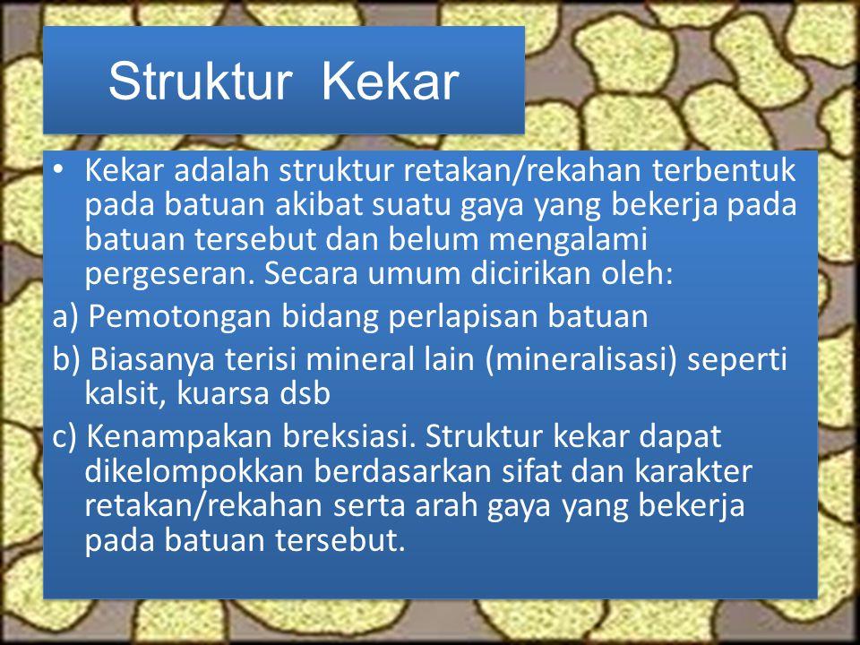 Struktur Kekar Kekar adalah struktur retakan/rekahan terbentuk pada batuan akibat suatu gaya yang bekerja pada batuan tersebut dan belum mengalami per
