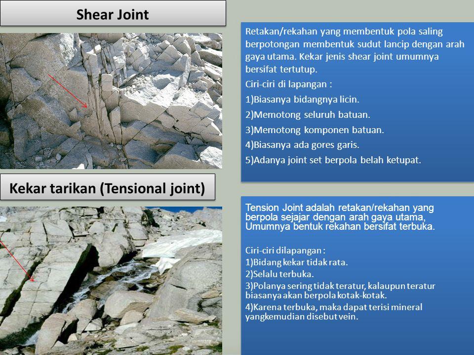 Shear Joint Retakan/rekahan yang membentuk pola saling berpotongan membentuk sudut lancip dengan arah gaya utama. Kekar jenis shear joint umumnya bers