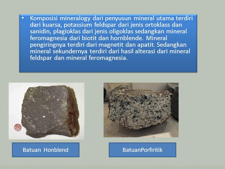 Komposisi mineralogy dari penyusun mineral utama terdiri dari kuarsa, potassium feldspar dari jenis ortoklass dan sanidin, plagioklas dari jenis oligoklas sedangkan mineral feromagnesia dari biotit dan hornblende.