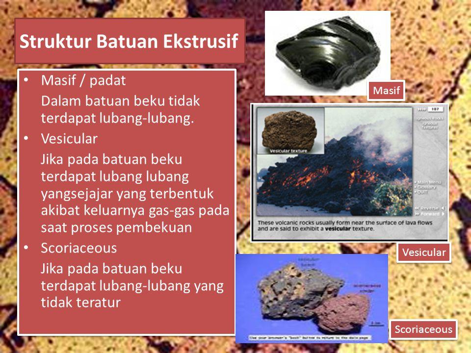 Struktur Batuan Ekstrusif Masif / padat Dalam batuan beku tidak terdapat lubang-lubang. Vesicular Jika pada batuan beku terdapat lubang lubang yangsej