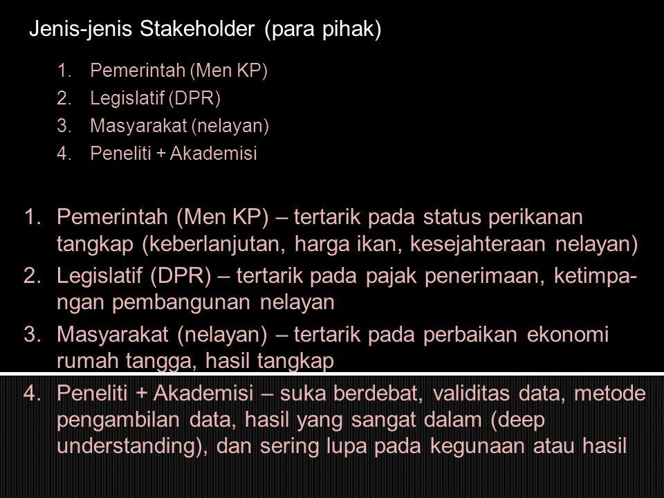 Jenis-jenis Stakeholder (para pihak) 1.Pemerintah (Men KP) 2.Legislatif (DPR) 3.Masyarakat (nelayan) 4.Peneliti + Akademisi 1.Pemerintah (Men KP) – tertarik pada status perikanan tangkap (keberlanjutan, harga ikan, kesejahteraan nelayan) 2.Legislatif (DPR) – tertarik pada pajak penerimaan, ketimpa- ngan pembangunan nelayan 3.Masyarakat (nelayan) – tertarik pada perbaikan ekonomi rumah tangga, hasil tangkap 4.Peneliti + Akademisi – suka berdebat, validitas data, metode pengambilan data, hasil yang sangat dalam (deep understanding), dan sering lupa pada kegunaan atau hasil