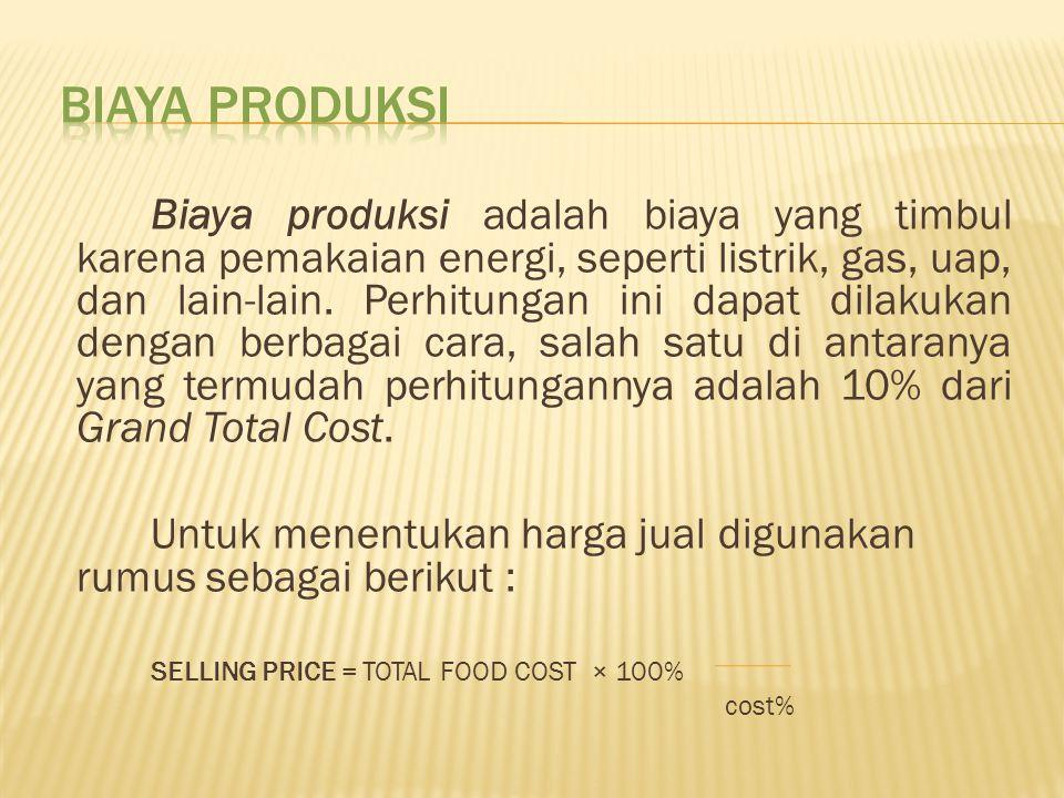 Biaya produksi adalah biaya yang timbul karena pemakaian energi, seperti listrik, gas, uap, dan lain-lain. Perhitungan ini dapat dilakukan dengan berb