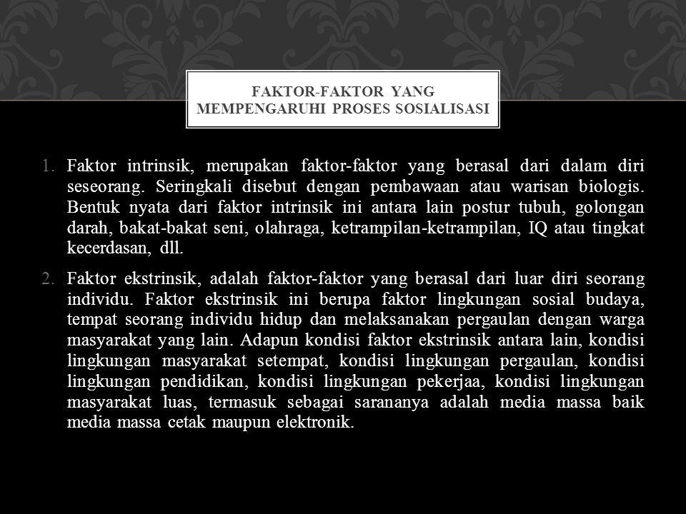 1.Faktor intrinsik, merupakan faktor-faktor yang berasal dari dalam diri seseorang. Seringkali disebut dengan pembawaan atau warisan biologis. Bentuk