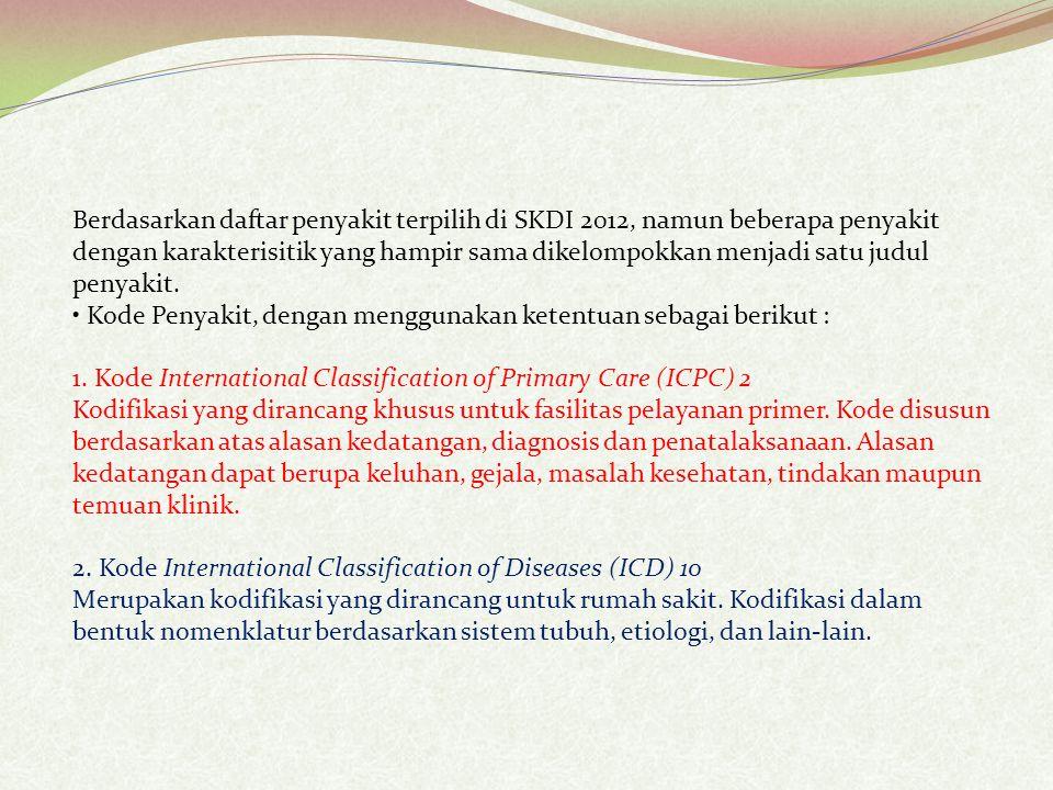 Berdasarkan daftar penyakit terpilih di SKDI 2012, namun beberapa penyakit dengan karakterisitik yang hampir sama dikelompokkan menjadi satu judul penyakit.