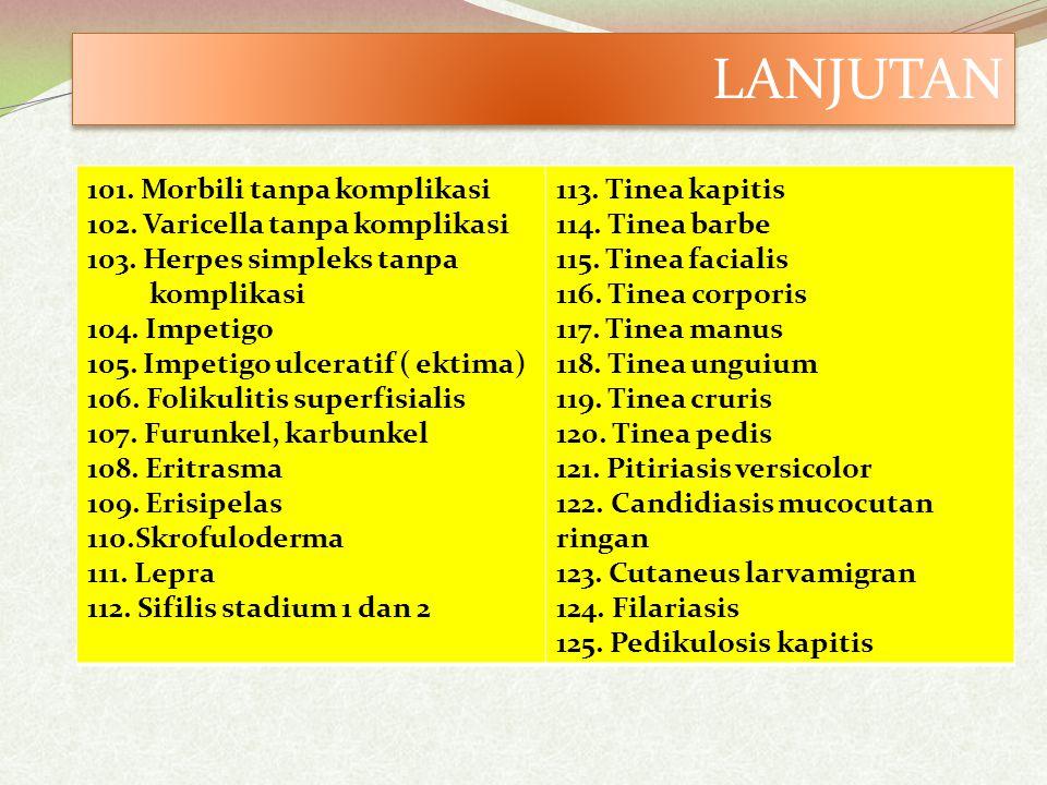 101.Morbili tanpa komplikasi 102. Varicella tanpa komplikasi 103.