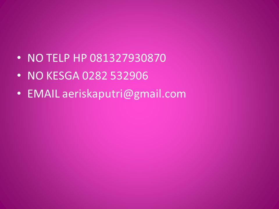 NO TELP HP 081327930870 NO KESGA 0282 532906 EMAIL aeriskaputri@gmail.com