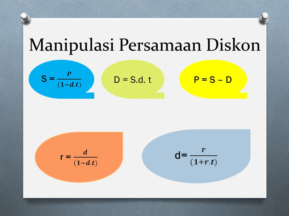 Manipulasi Persamaan Diskon D = S.d. tP = S – D