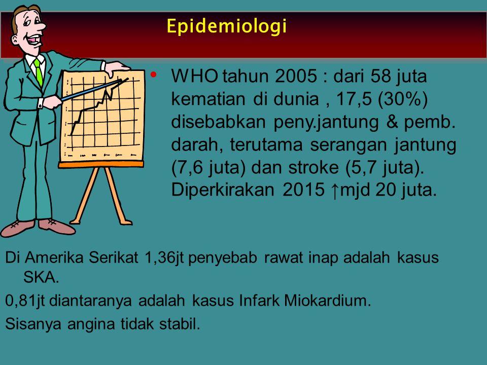 Epidemiologi WHO tahun 2005 : dari 58 juta kematian di dunia, 17,5 (30%) disebabkan peny.jantung & pemb. darah, terutama serangan jantung (7,6 juta) d