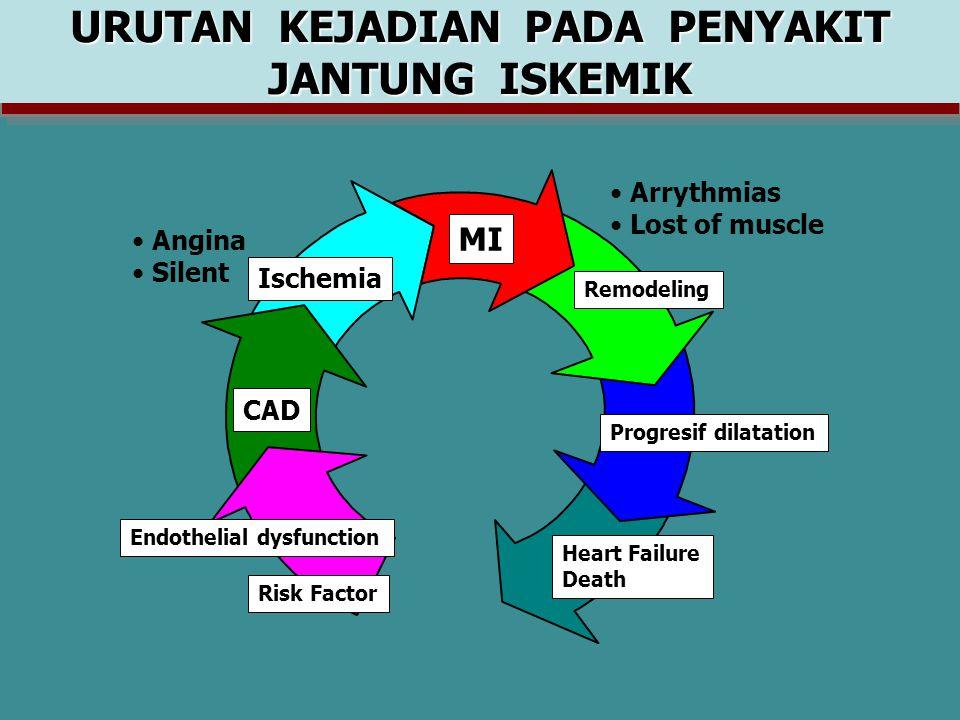 URUTAN KEJADIAN PADA PENYAKIT JANTUNG ISKEMIK Risk Factor Endothelial dysfunction CAD Ischemia Angina Silent MI Arrythmias Lost of muscle Remodeling Progresif dilatation Heart Failure Death