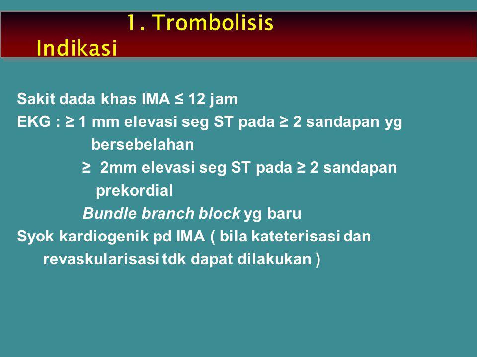 1. Trombolisis Indikasi Sakit dada khas IMA ≤ 12 jam EKG : ≥ 1 mm elevasi seg ST pada ≥ 2 sandapan yg bersebelahan ≥ 2mm elevasi seg ST pada ≥ 2 sanda
