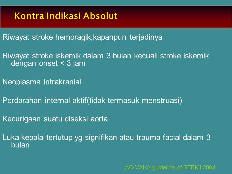Kontra Indikasi Absolut Riwayat stroke hemoragik,kapanpun terjadinya Riwayat stroke iskemik dalam 3 bulan kecuali stroke iskemik dengan onset < 3 jam Neoplasma intrakranial Perdarahan internal aktif(tidak termasuk menstruasi) Kecurigaan suatu diseksi aorta Luka kepala tertutup yg signifikan atau trauma facial dalam 3 bulan ACC/AHA guideline of STEMI 2004