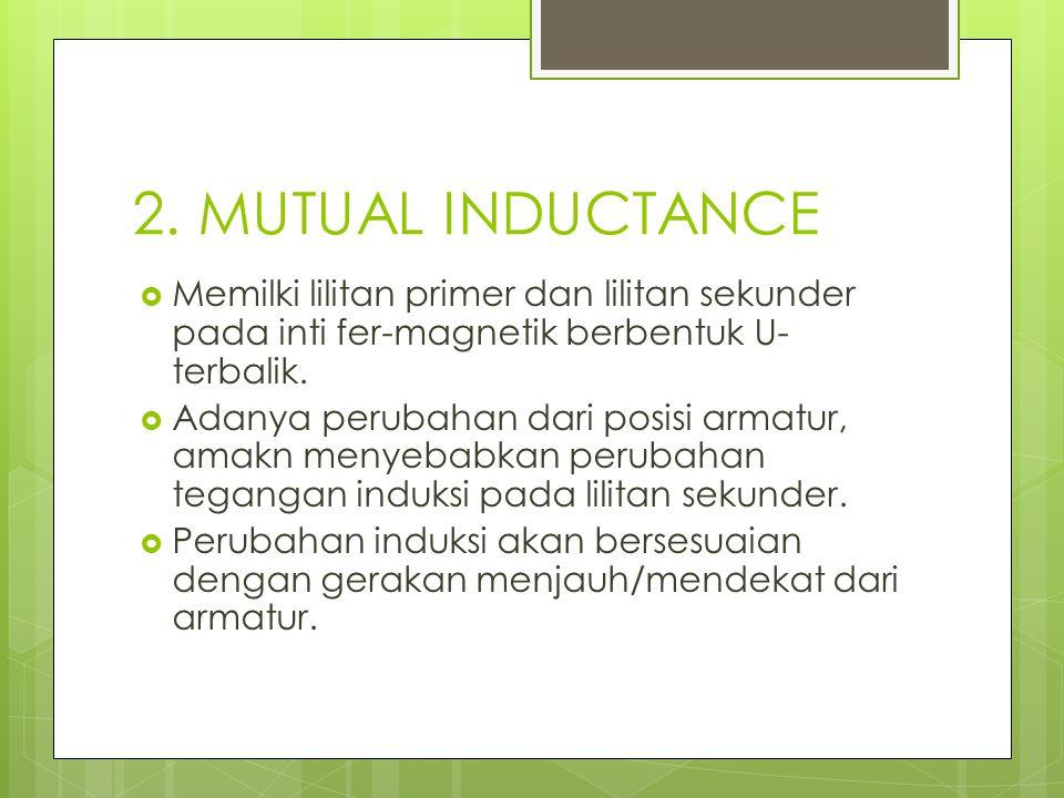 2. MUTUAL INDUCTANCE  Memilki lilitan primer dan lilitan sekunder pada inti fer-magnetik berbentuk U- terbalik.  Adanya perubahan dari posisi armatu