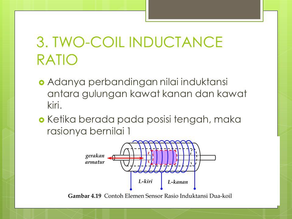 3. TWO-COIL INDUCTANCE RATIO  Adanya perbandingan nilai induktansi antara gulungan kawat kanan dan kawat kiri.  Ketika berada pada posisi tengah, ma