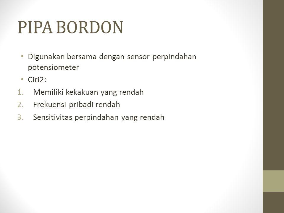 PIPA BORDON Digunakan bersama dengan sensor perpindahan potensiometer Ciri2: 1.Memiliki kekakuan yang rendah 2.Frekuensi pribadi rendah 3.Sensitivitas perpindahan yang rendah