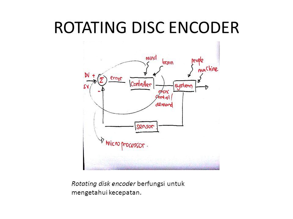 ROTATING DISC ENCODER Rotating disk encoder berfungsi untuk mengetahui kecepatan.