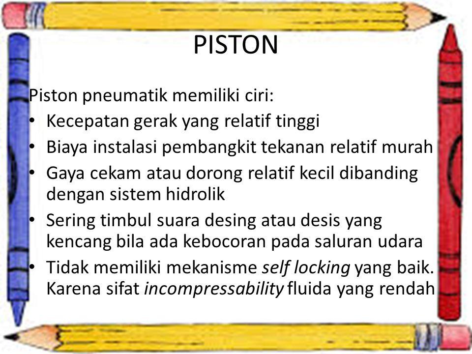 PISTON Piston pneumatik memiliki ciri: Kecepatan gerak yang relatif tinggi Biaya instalasi pembangkit tekanan relatif murah Gaya cekam atau dorong rel