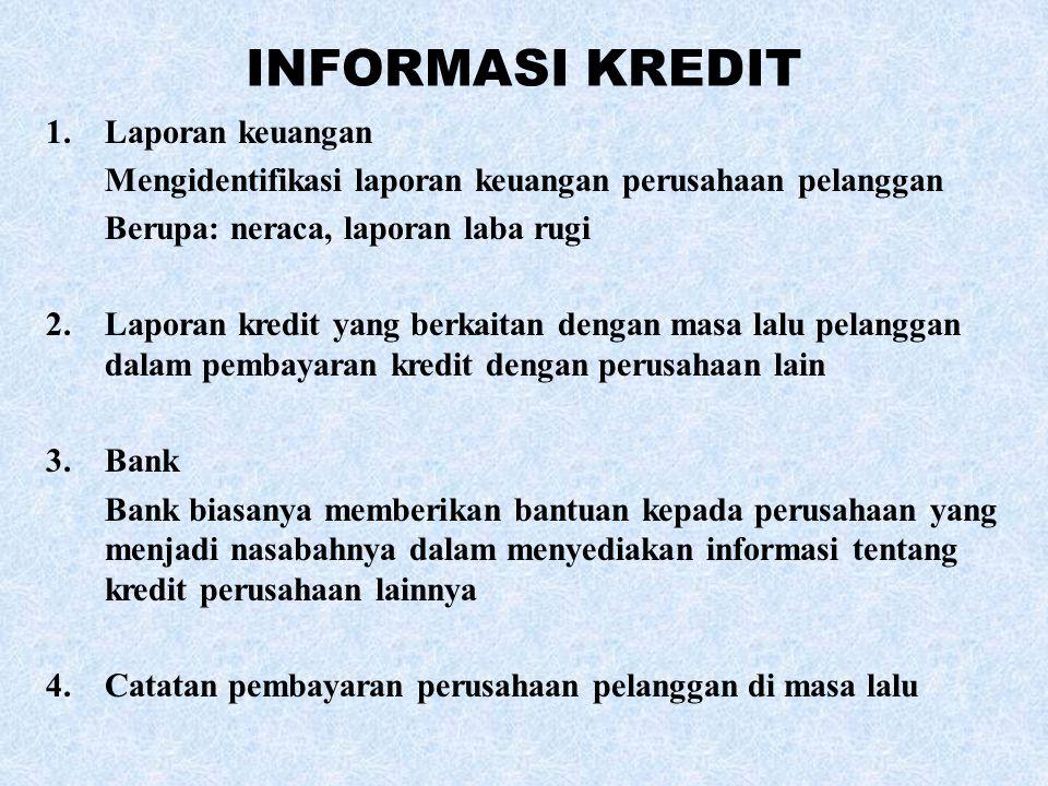 INFORMASI KREDIT 1.Laporan keuangan Mengidentifikasi laporan keuangan perusahaan pelanggan Berupa: neraca, laporan laba rugi 2.Laporan kredit yang ber