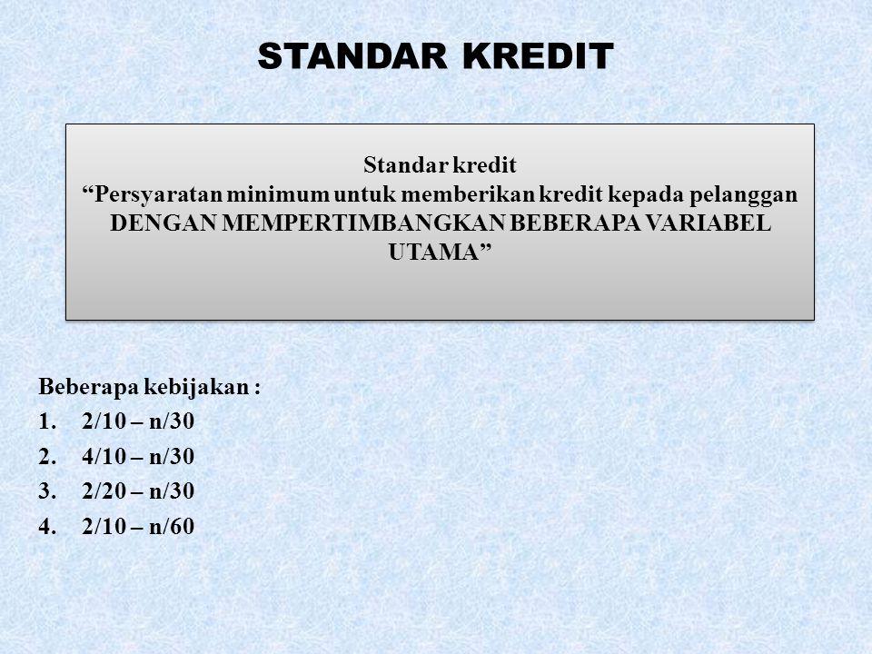 """STANDAR KREDIT Beberapa kebijakan : 1.2/10 – n/30 2.4/10 – n/30 3.2/20 – n/30 4.2/10 – n/60 Standar kredit """"Persyaratan minimum untuk memberikan kredi"""