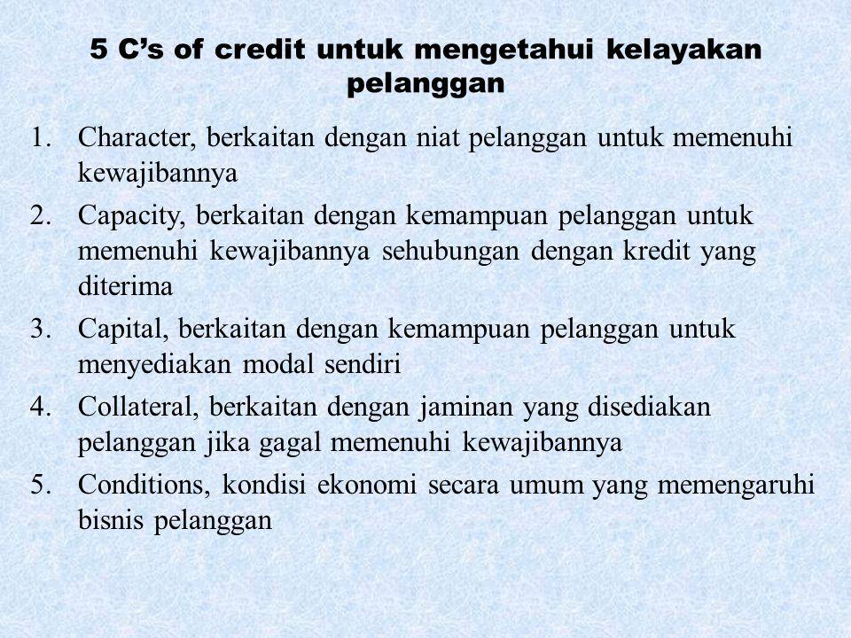5 C's of credit untuk mengetahui kelayakan pelanggan 1.Character, berkaitan dengan niat pelanggan untuk memenuhi kewajibannya 2.Capacity, berkaitan de
