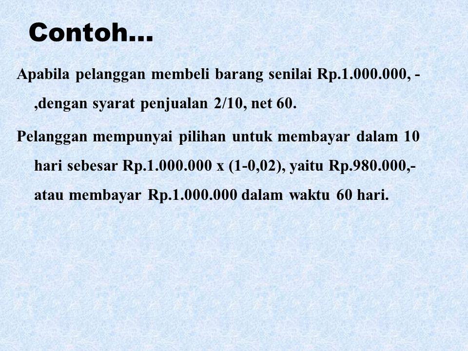 Contoh… Apabila pelanggan membeli barang senilai Rp.1.000.000, -,dengan syarat penjualan 2/10, net 60. Pelanggan mempunyai pilihan untuk membayar dala