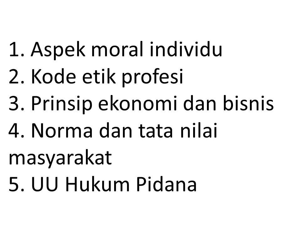 1. Aspek moral individu 2. Kode etik profesi 3. Prinsip ekonomi dan bisnis 4.