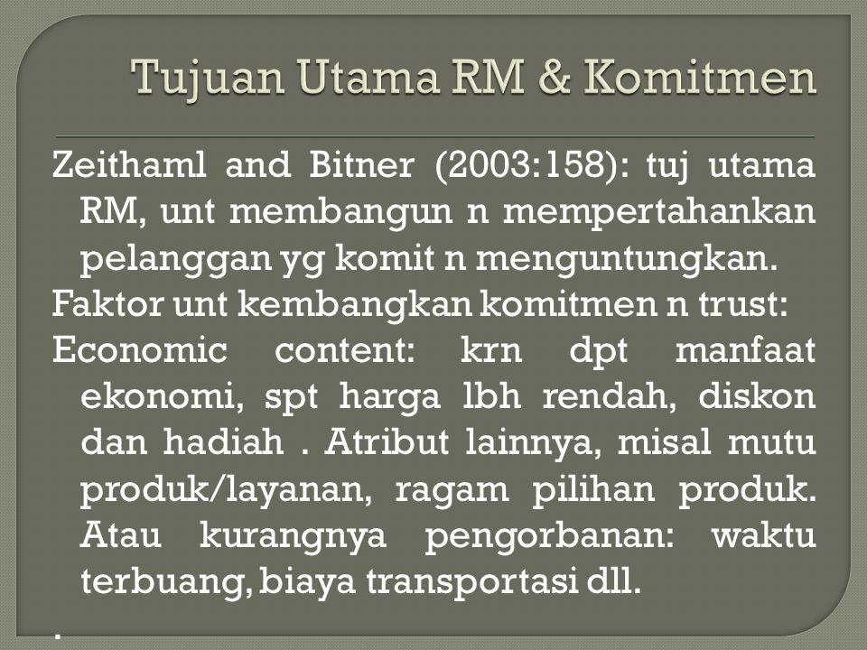 Zeithaml and Bitner (2003:158): tuj utama RM, unt membangun n mempertahankan pelanggan yg komit n menguntungkan.