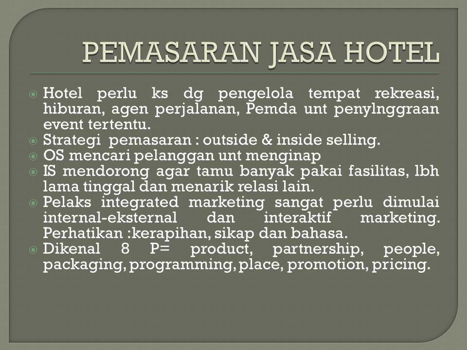  Hotel perlu ks dg pengelola tempat rekreasi, hiburan, agen perjalanan, Pemda unt penylnggraan event tertentu.