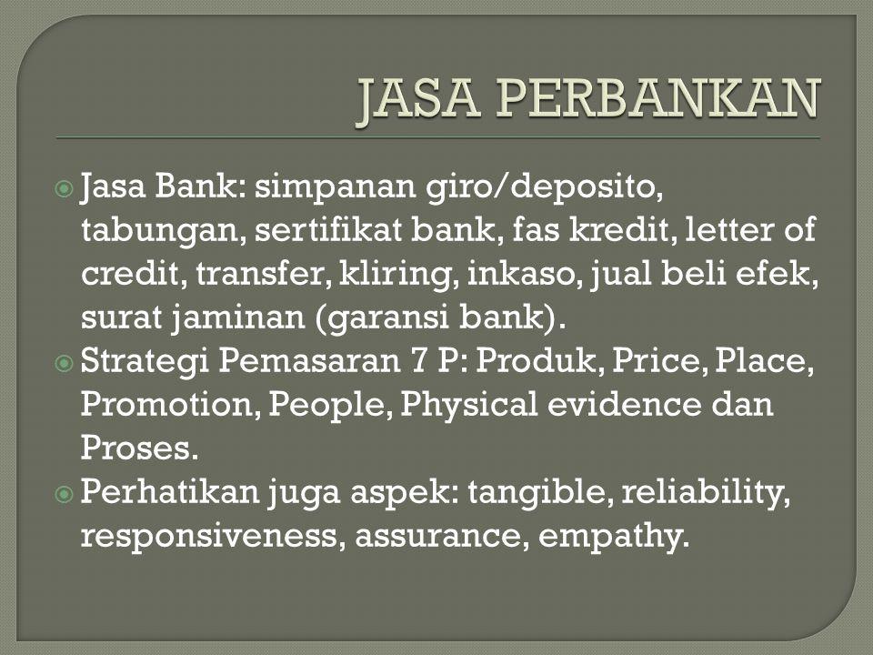  Jasa Bank: simpanan giro/deposito, tabungan, sertifikat bank, fas kredit, letter of credit, transfer, kliring, inkaso, jual beli efek, surat jaminan (garansi bank).