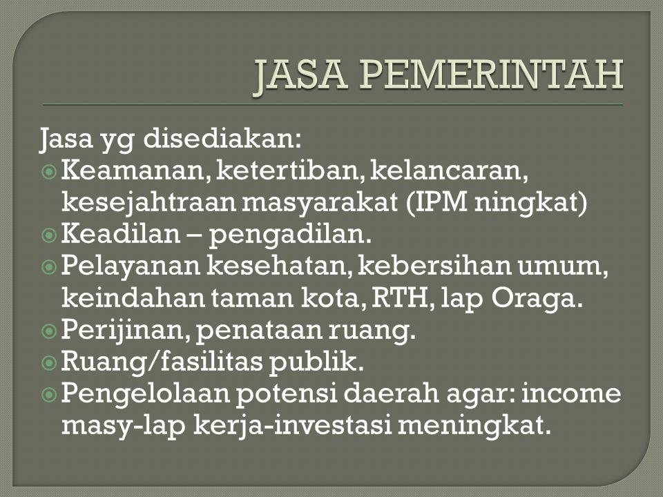 Jasa yg disediakan:  Keamanan, ketertiban, kelancaran, kesejahtraan masyarakat (IPM ningkat)  Keadilan – pengadilan.