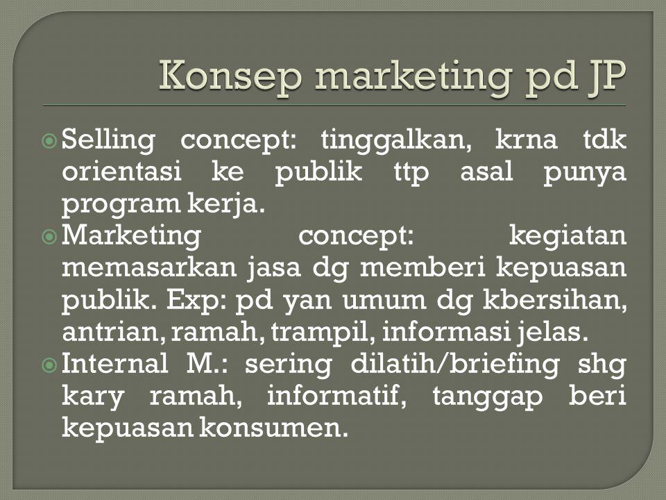  Selling concept: tinggalkan, krna tdk orientasi ke publik ttp asal punya program kerja.