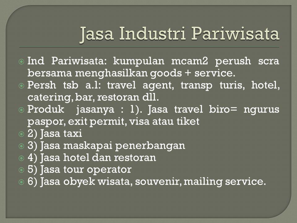  Ind Pariwisata: kumpulan mcam2 perush scra bersama menghasilkan goods + service.