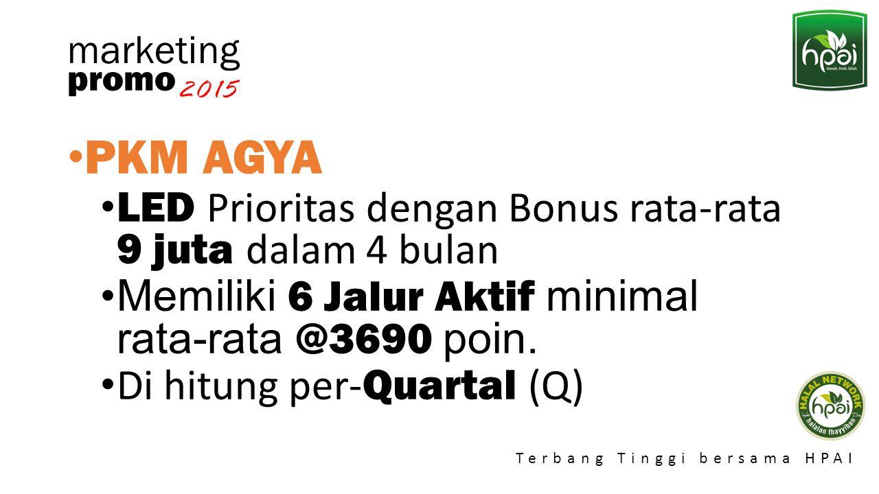 Promo 2015 Terbang Tinggi bersama HPAI marketing PKM AGYA LED Prioritas dengan Bonus rata-rata 9 juta dalam 4 bulan Memiliki 6 Jalur Aktif minimal rat
