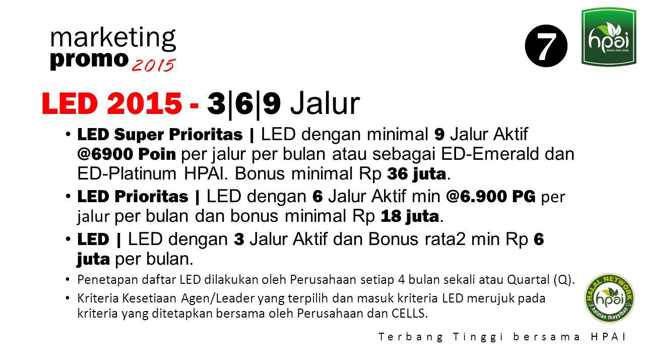 Promo 2015 Terbang Tinggi bersama HPAI marketing LED 2015 - 3 | 6 | 9 Jalur LED Super Prioritas | LED dengan minimal 9 Jalur Aktif @6900 Poin per jalu