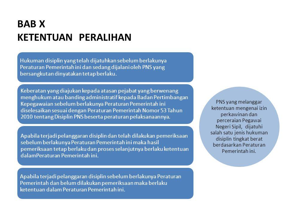 BAB X KETENTUAN PERALIHAN Hukuman disiplin yang telah dijatuhkan sebelum berlakunya Peraturan Pemerintah ini dan sedang dijalani oleh PNS yang bersangkutan dinyatakan tetap berlaku.