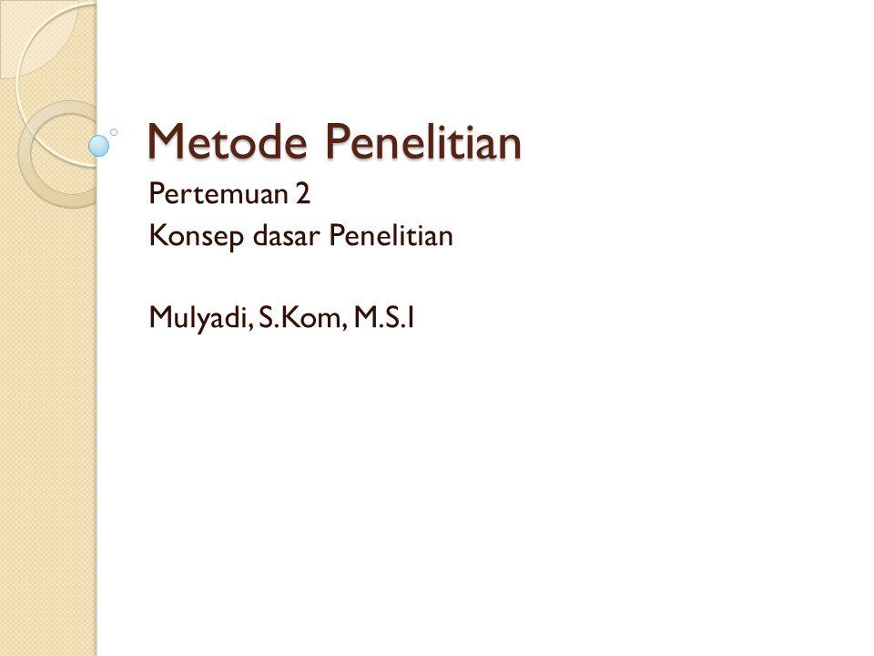 Metode Penelitian Pertemuan 2 Konsep dasar Penelitian Mulyadi, S.Kom, M.S.I