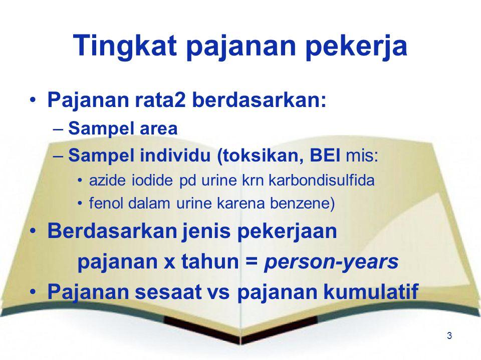 3 Tingkat pajanan pekerja Pajanan rata2 berdasarkan: –Sampel area –Sampel individu (toksikan, BEI mis: azide iodide pd urine krn karbondisulfida fenol