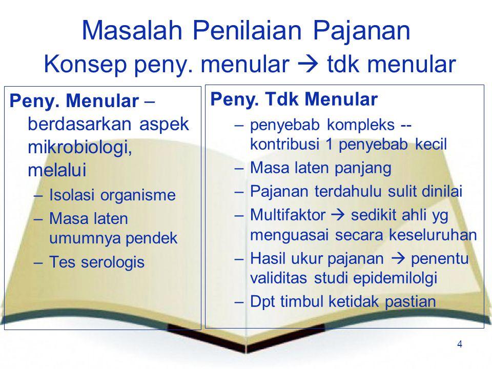 4 Masalah Penilaian Pajanan Konsep peny. menular  tdk menular Peny. Menular – berdasarkan aspek mikrobiologi, melalui –Isolasi organisme –Masa laten