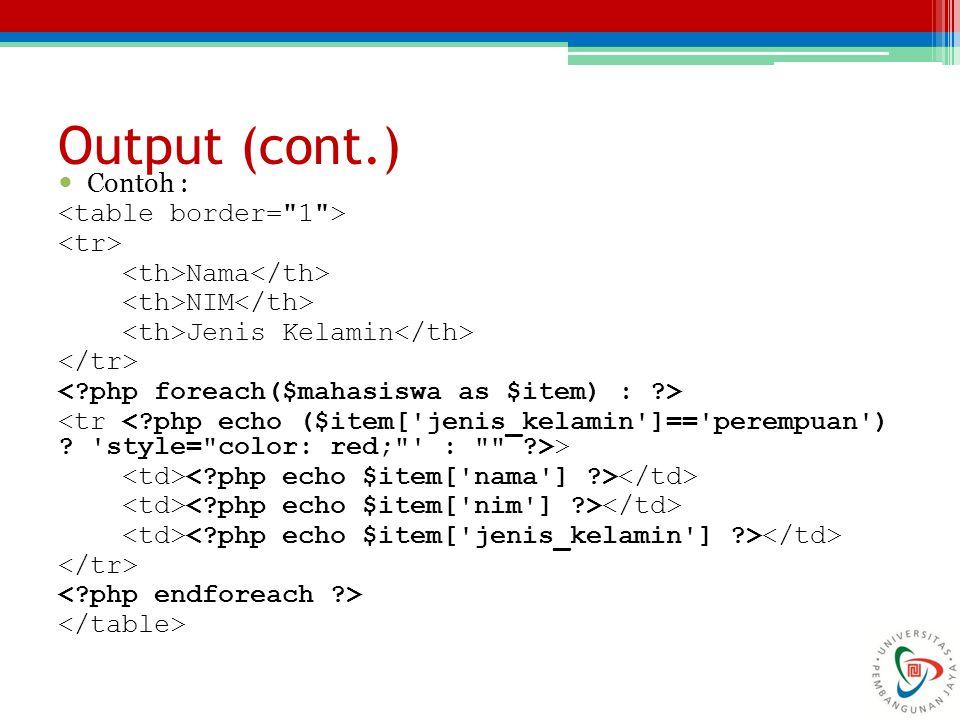 Contoh : Nama NIM Jenis Kelamin > Output (cont.)