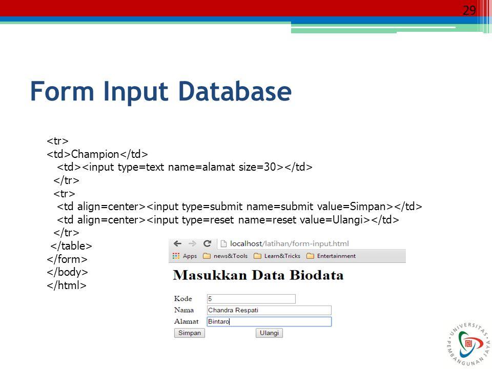 29 Champion Form Input Database