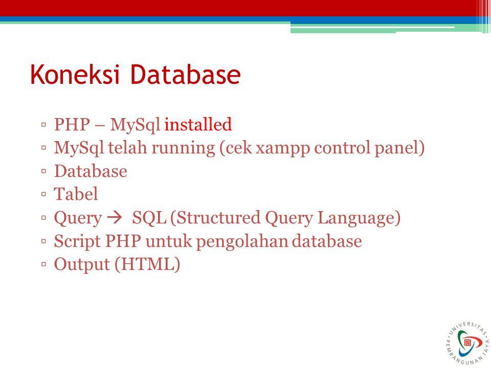 ▫PHP – MySql installed ▫MySql telah running (cek xampp control panel) ▫Database ▫Tabel ▫Query  SQL (Structured Query Language) ▫Script PHP untuk peng